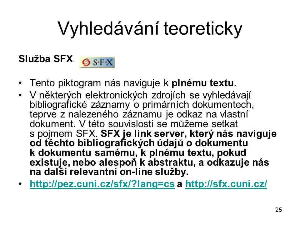 Vyhledávání teoreticky Služba SFX Tento piktogram nás naviguje k plnému textu. V některých elektronických zdrojích se vyhledávají bibliografické zázna