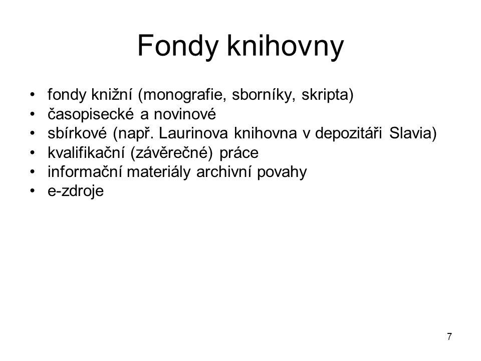 fondy knižní (monografie, sborníky, skripta) časopisecké a novinové sbírkové (např.