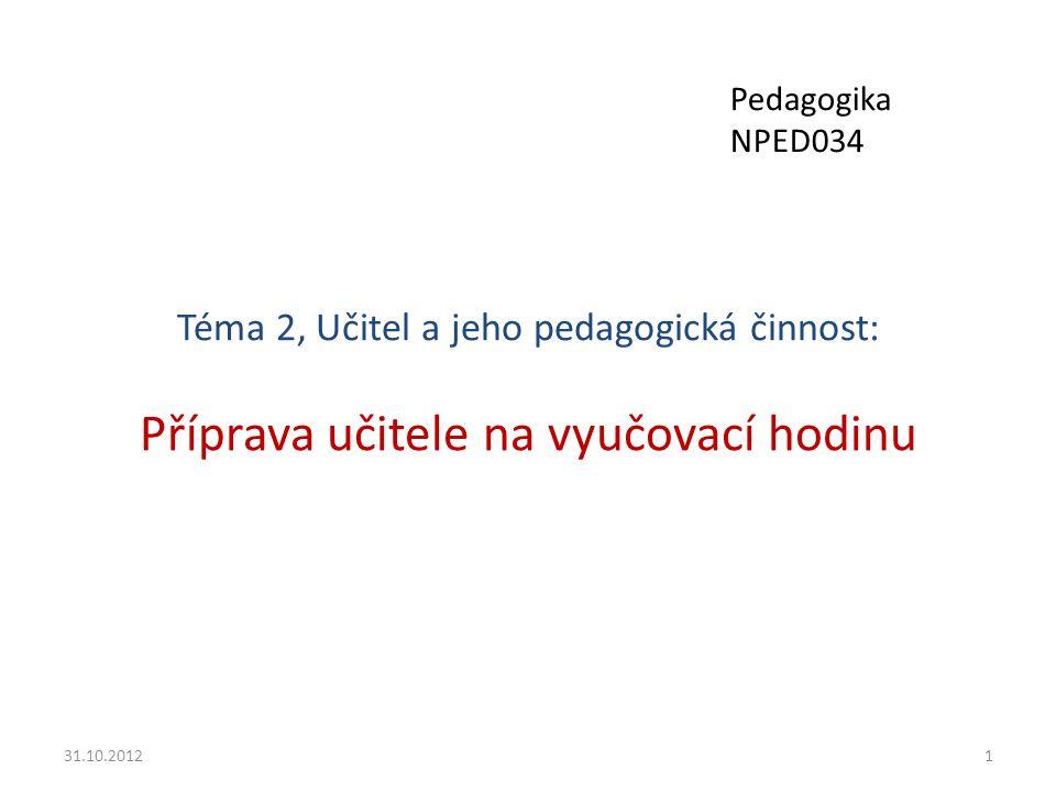 Téma 2, Učitel a jeho pedagogická činnost: Příprava učitele na vyučovací hodinu 31.10.20121 Pedagogika NPED034