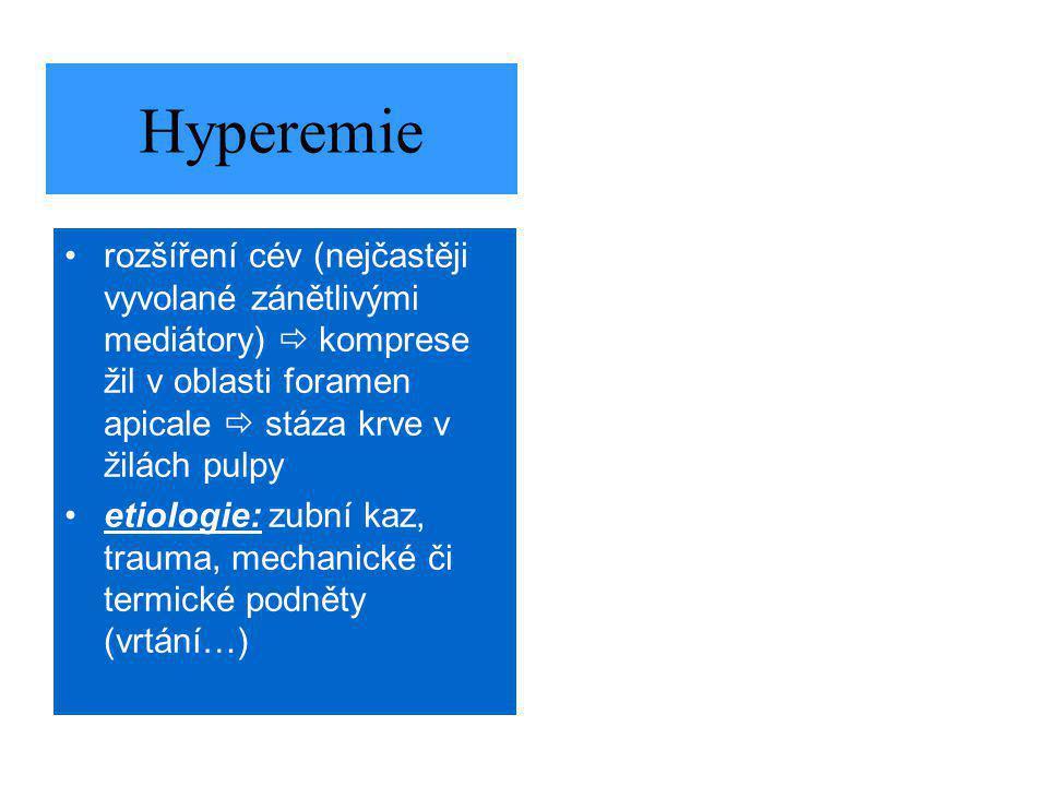 Hyperemie rozšíření cév (nejčastěji vyvolané zánětlivými mediátory)  komprese žil v oblasti foramen apicale  stáza krve v žilách pulpy etiologie: zubní kaz, trauma, mechanické či termické podněty (vrtání…)