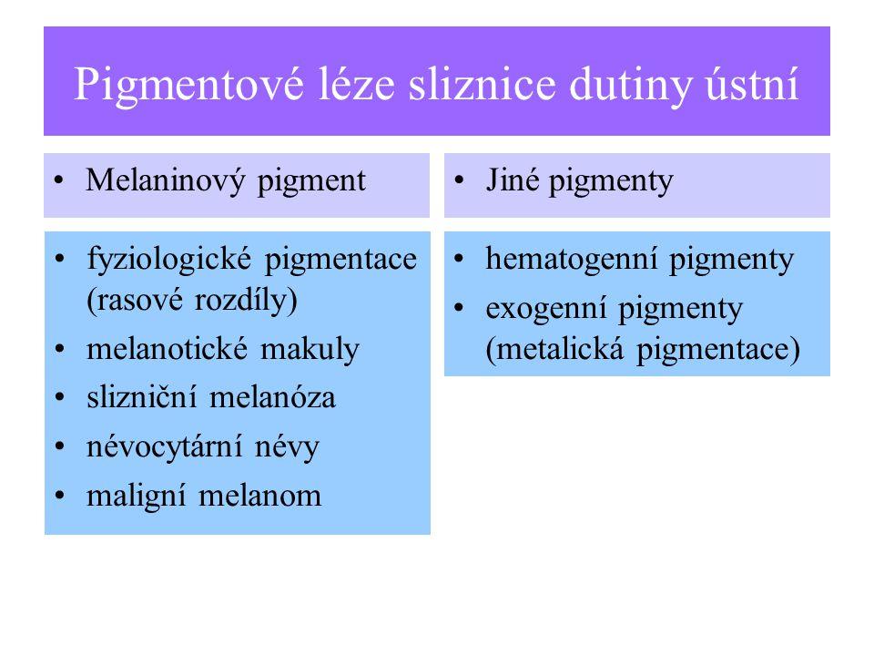 Pigmentové léze sliznice dutiny ústní Melaninový pigmentJiné pigmenty fyziologické pigmentace (rasové rozdíly) melanotické makuly slizniční melanóza névocytární névy maligní melanom hematogenní pigmenty exogenní pigmenty (metalická pigmentace)