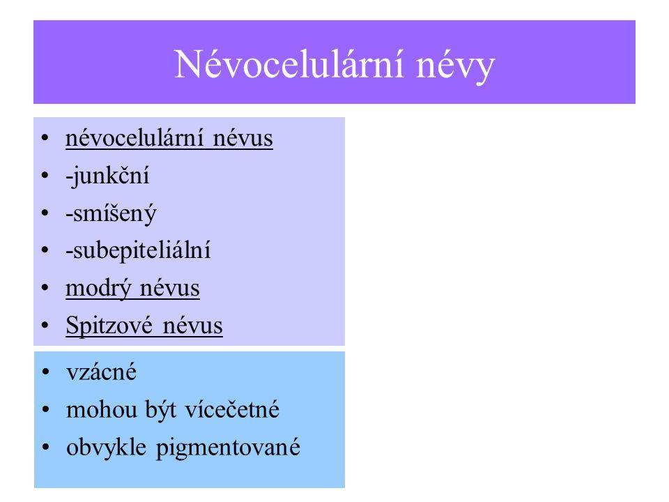 Névocelulární névy névocelulární névus -junkční -smíšený -subepiteliální modrý névus Spitzové névus vzácné mohou být vícečetné obvykle pigmentované
