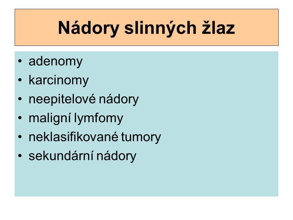 Nádory slinných žlaz adenomy karcinomy neepitelové nádory maligní lymfomy neklasifikované tumory sekundární nádory