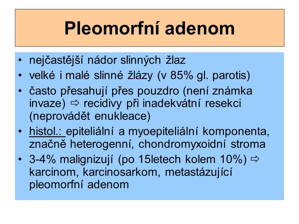 Pleomorfní adenom nejčastější nádor slinných žlaz velké i malé slinné žlázy (v 85% gl. parotis) často přesahují přes pouzdro (není známka invaze)  r