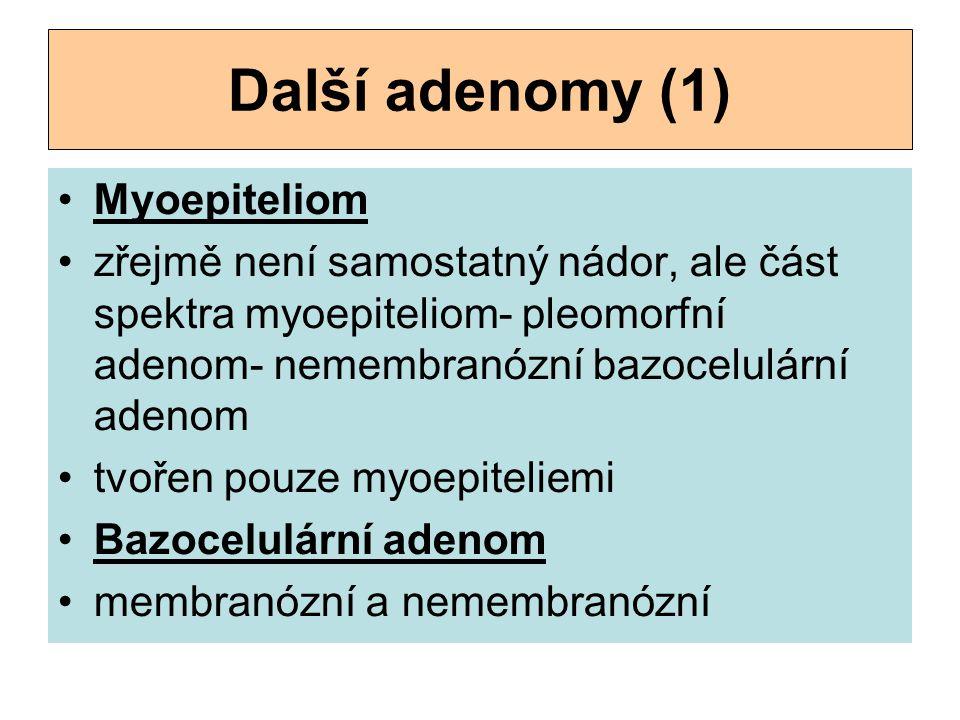Další adenomy (1) Myoepiteliom zřejmě není samostatný nádor, ale část spektra myoepiteliom- pleomorfní adenom- nemembranózní bazocelulární adenom tvo