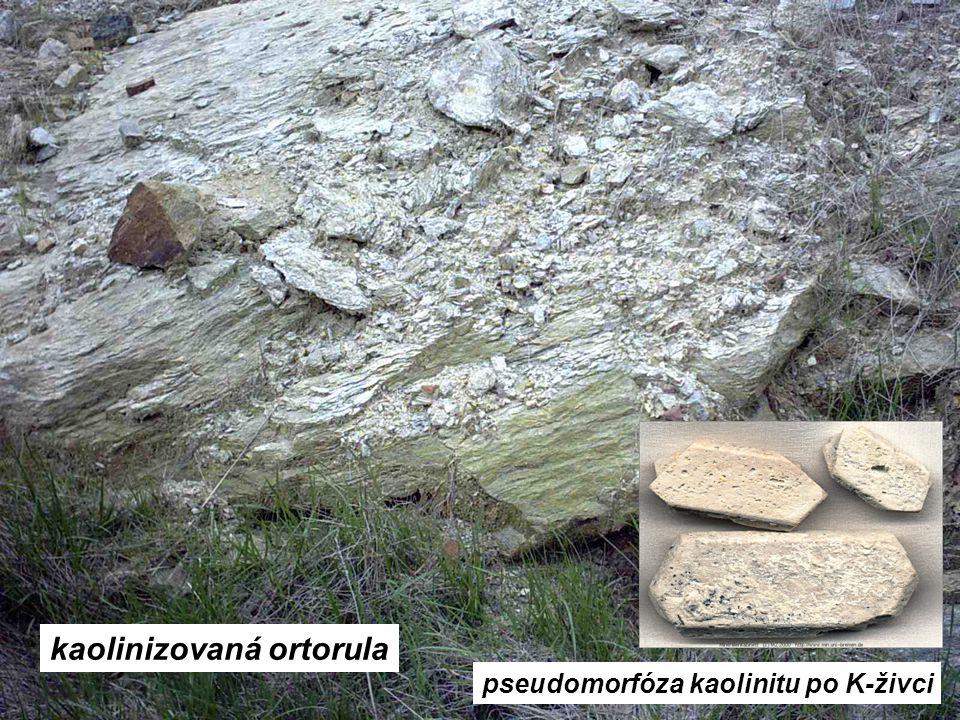 kaolinizovaná ortorula pseudomorfóza kaolinitu po K-živci