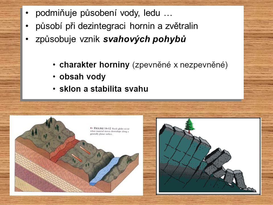 podmiňuje působení vody, ledu … působí při dezintegraci hornin a zvětralin způsobuje vznik svahových pohybů charakter horniny (zpevněné x nezpevněné)