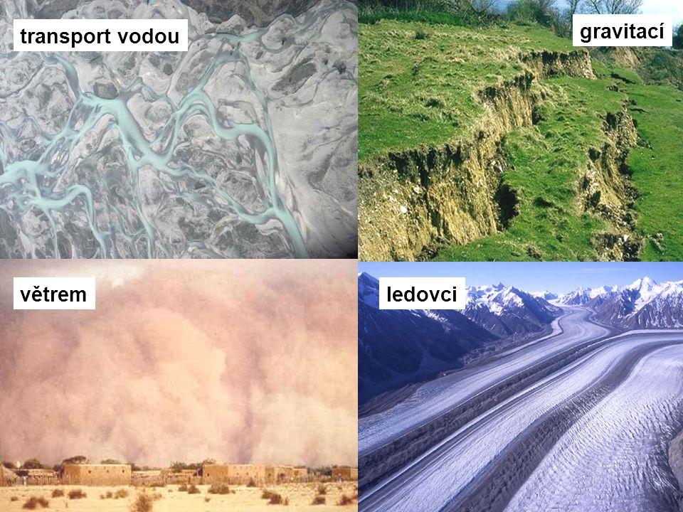 transport vodou gravitací větremledovci