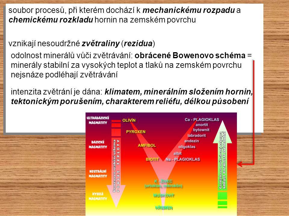 podmiňuje působení vody, ledu … působí při dezintegraci hornin a zvětralin způsobuje vznik svahových pohybů charakter horniny (zpevněné x nezpevněné) obsah vody sklon a stabilita svahu podmiňuje působení vody, ledu … působí při dezintegraci hornin a zvětralin způsobuje vznik svahových pohybů charakter horniny (zpevněné x nezpevněné) obsah vody sklon a stabilita svahu
