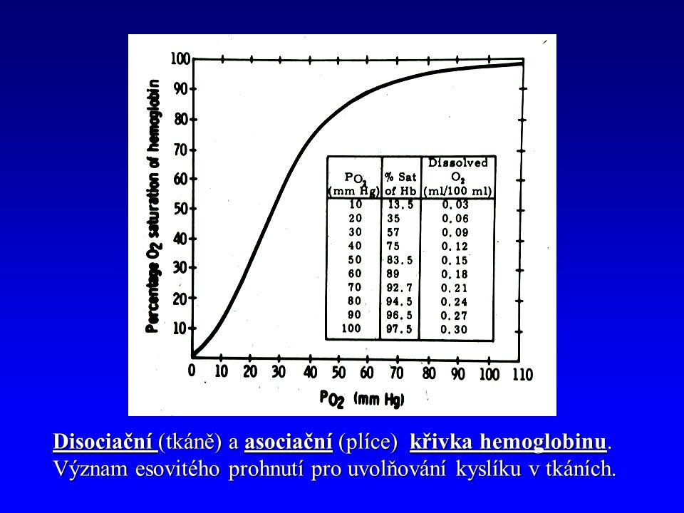 Disociační (tkáně) a asociační (plíce) křivka hemoglobinu.