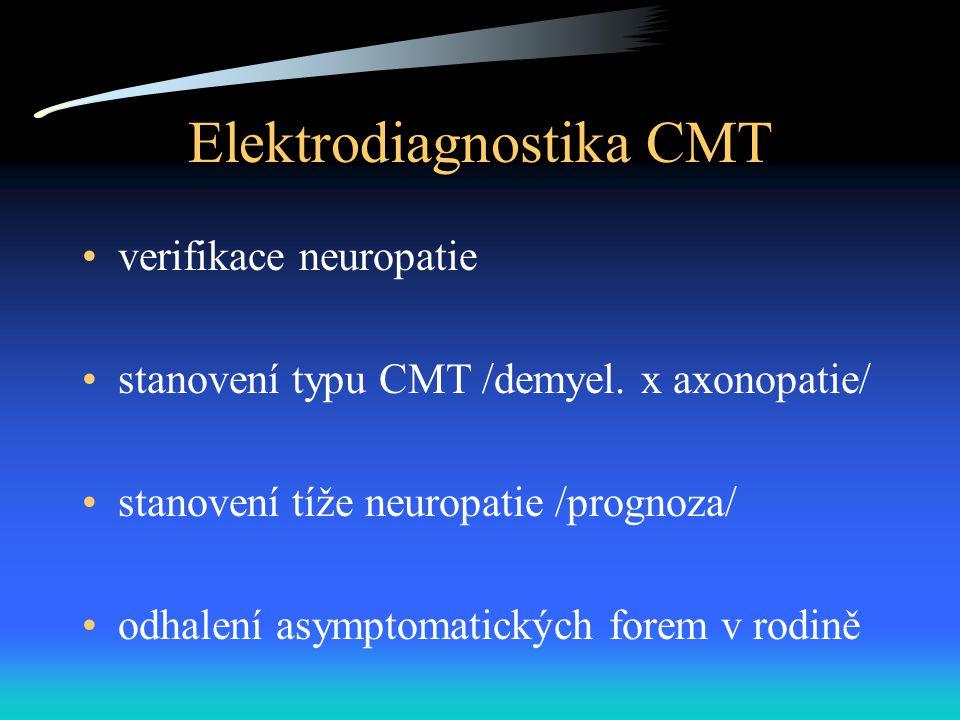 Elektrodiagnostika CMT verifikace neuropatie stanovení typu CMT /demyel. x axonopatie/ stanovení tíže neuropatie /prognoza/ odhalení asymptomatických
