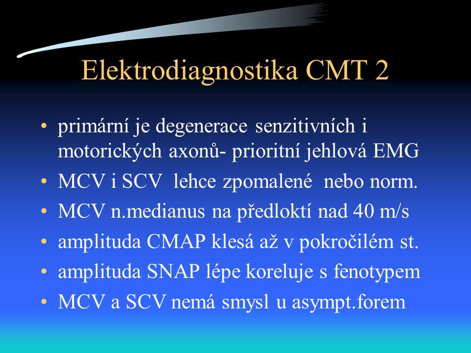 Elektrodiagnostika CMT 2 primární je degenerace senzitivních i motorických axonů- prioritní jehlová EMG MCV i SCV lehce zpomalené nebo norm. MCV n.med