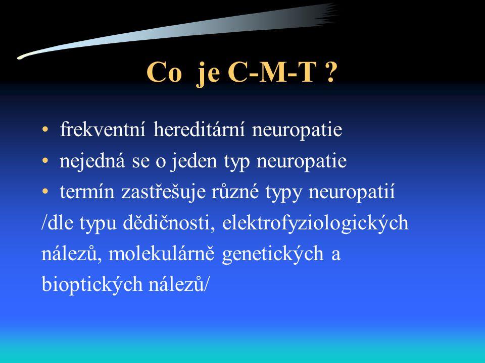 Co je C-M-T ? frekventní hereditární neuropatie nejedná se o jeden typ neuropatie termín zastřešuje různé typy neuropatií /dle typu dědičnosti, elektr