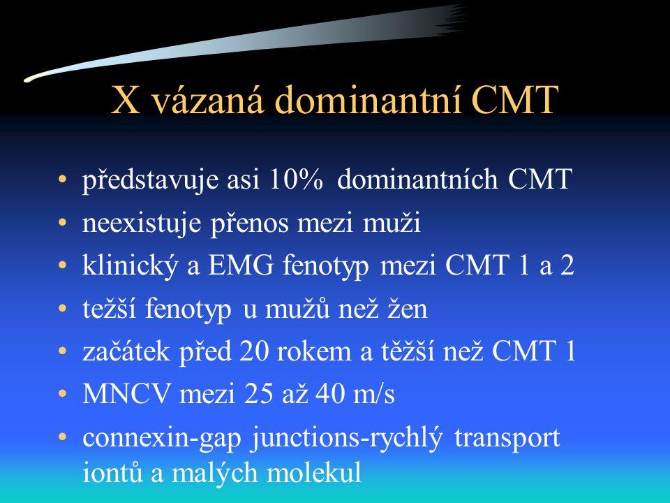X vázaná dominantní CMT představuje asi 10% dominantních CMT neexistuje přenos mezi muži klinický a EMG fenotyp mezi CMT 1 a 2 težší fenotyp u mužů než žen začátek před 20 rokem a těžší než CMT 1 MNCV mezi 25 až 40 m/s connexin-gap junctions-rychlý transport iontů a malých molekul