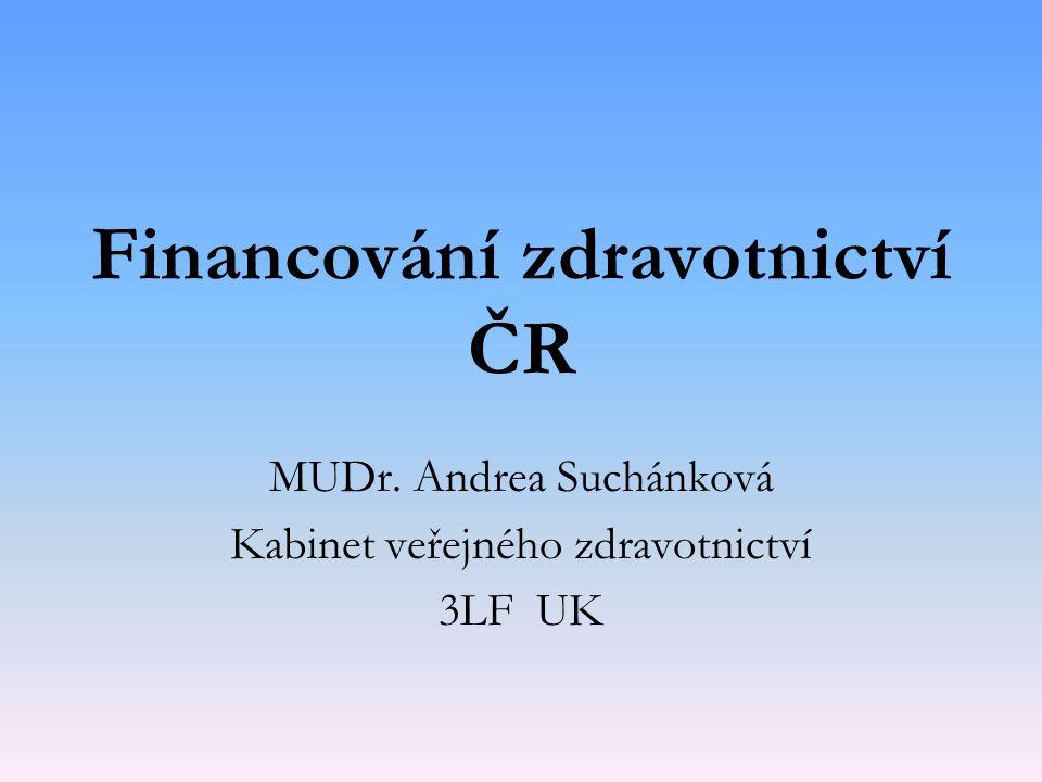 Financování zdravotnictví ČR MUDr. Andrea Suchánková Kabinet veřejného zdravotnictví 3LF UK