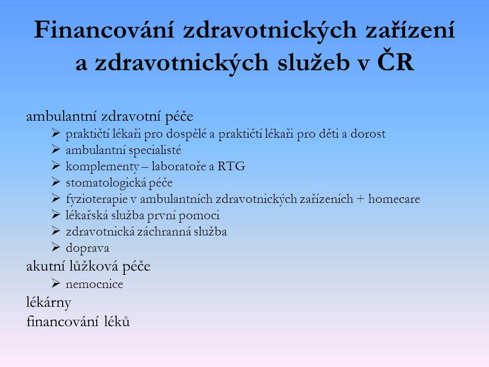 Financování zdravotnických zařízení a zdravotnických služeb v ČR ambulantní zdravotní péče   praktičtí lékaři pro dospělé a praktičtí lékaři pro dět