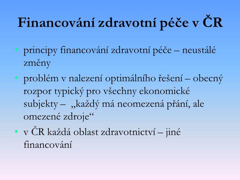 Financování zdravotní péče v ČR principy financování zdravotní péče – neustálé změny problém v nalezení optimálního řešení – obecný rozpor typický pro
