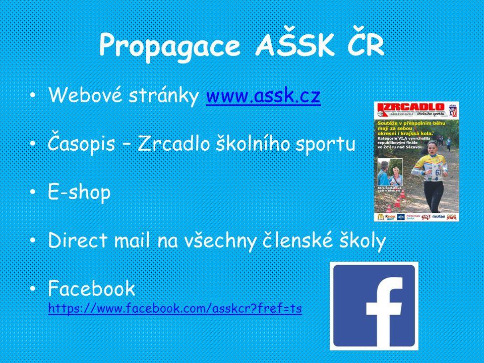 Propagace AŠSK ČR Webové stránky www.assk.czwww.assk.cz Časopis – Zrcadlo školního sportu E-shop Direct mail na všechny členské školy Facebook https://www.facebook.com/asskcr fref=ts