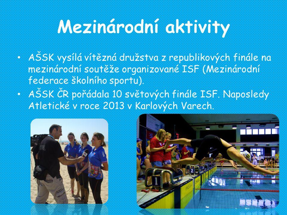 Mezinárodní aktivity AŠSK vysílá vítězná družstva z republikových finále na mezinárodní soutěže organizované ISF (Mezinárodní federace školního sportu