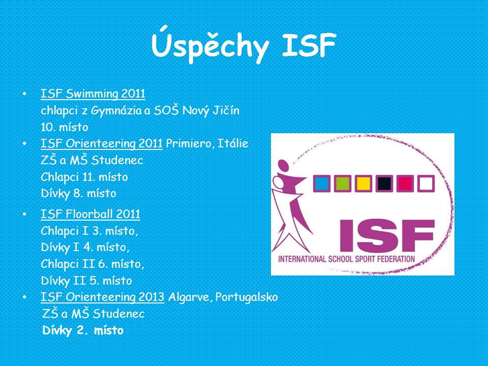 Úspěchy ISF ISF Swimming 2011 chlapci z Gymnázia a SOŠ Nový Jičín 10. místo ISF Orienteering 2011 Primiero, Itálie ZŠ a MŠ Studenec Chlapci 11. místo