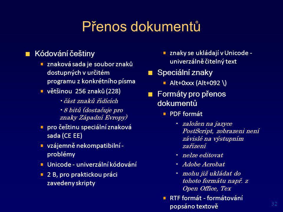 Přenos dokumentů Kódování češtiny znaková sada je soubor znaků dostupných v určitém programu z konkrétního písma většinou 256 znaků (228) část znaků ř