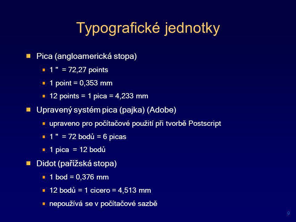 Typografické jednotky Pica (angloamerická stopa) 1