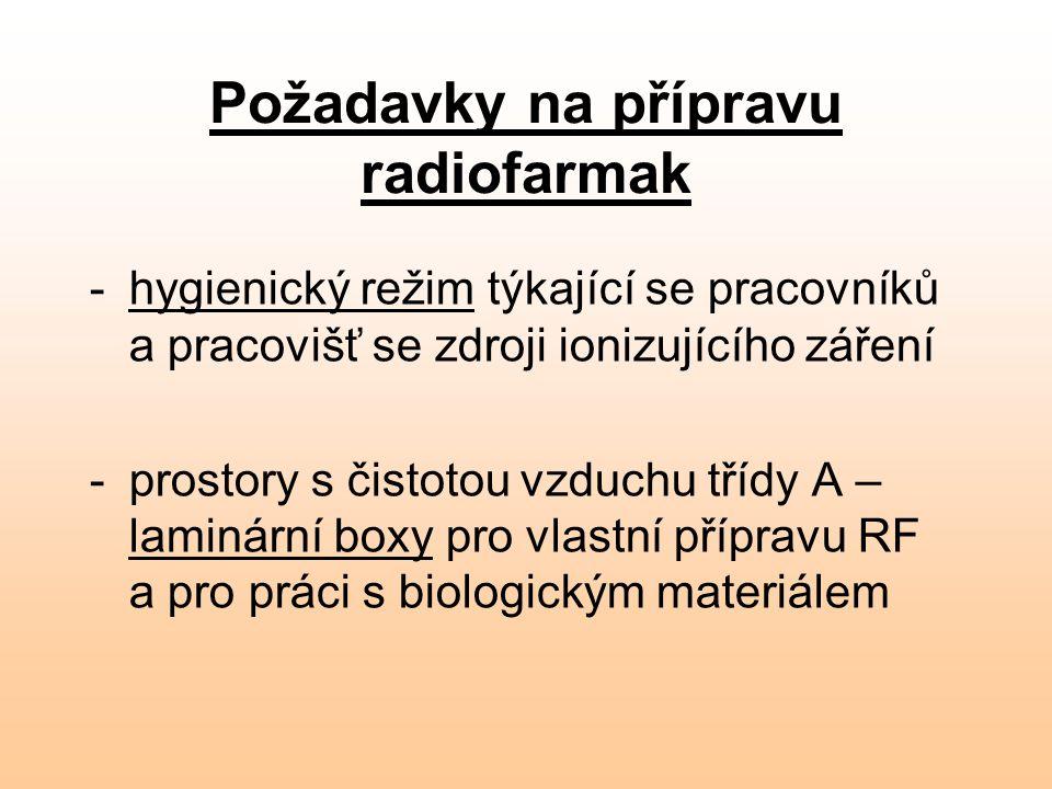 Požadavky na přípravu radiofarmak -hygienický režim týkající se pracovníků a pracovišť se zdroji ionizujícího záření -prostory s čistotou vzduchu tříd