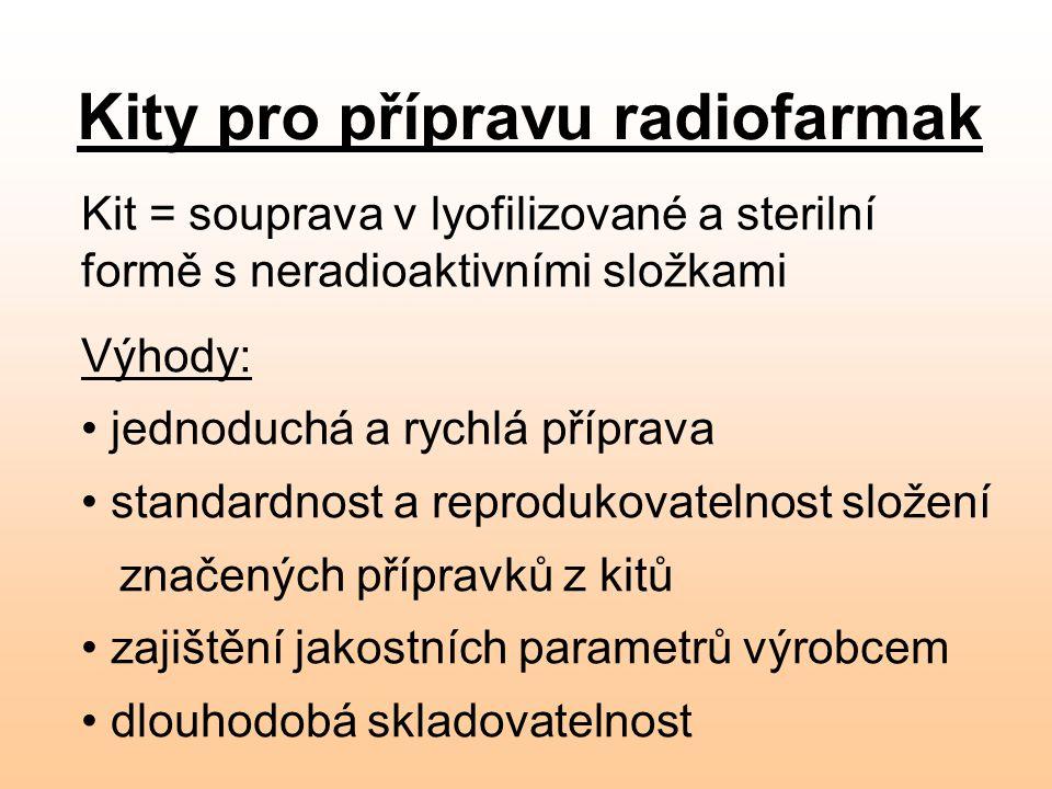 Kity pro přípravu radiofarmak Kit = souprava v lyofilizované a sterilní formě s neradioaktivními složkami Výhody: jednoduchá a rychlá příprava standar