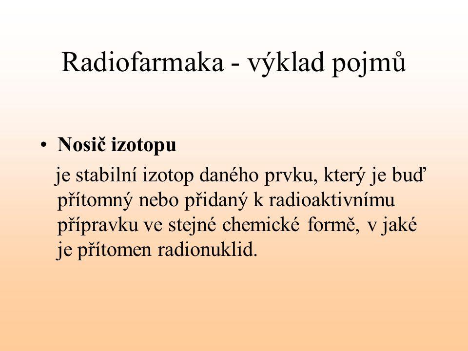 Radiofarmaka - výklad pojmů Nosič izotopu je stabilní izotop daného prvku, který je buď přítomný nebo přidaný k radioaktivnímu přípravku ve stejné che