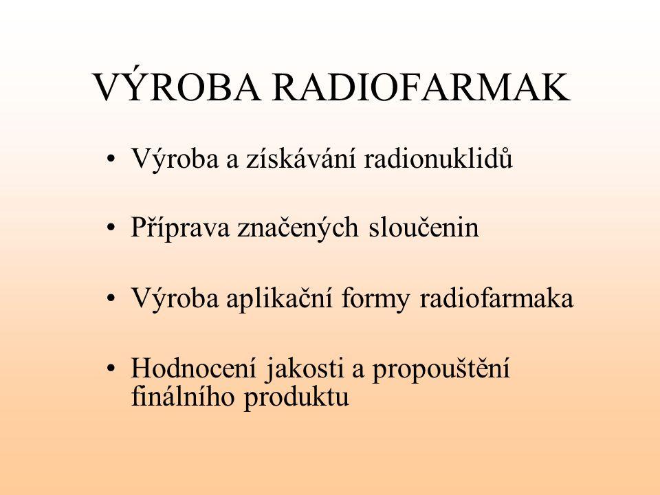 VÝROBA RADIOFARMAK Výroba a získávání radionuklidů Příprava značených sloučenin Výroba aplikační formy radiofarmaka Hodnocení jakosti a propouštění fi