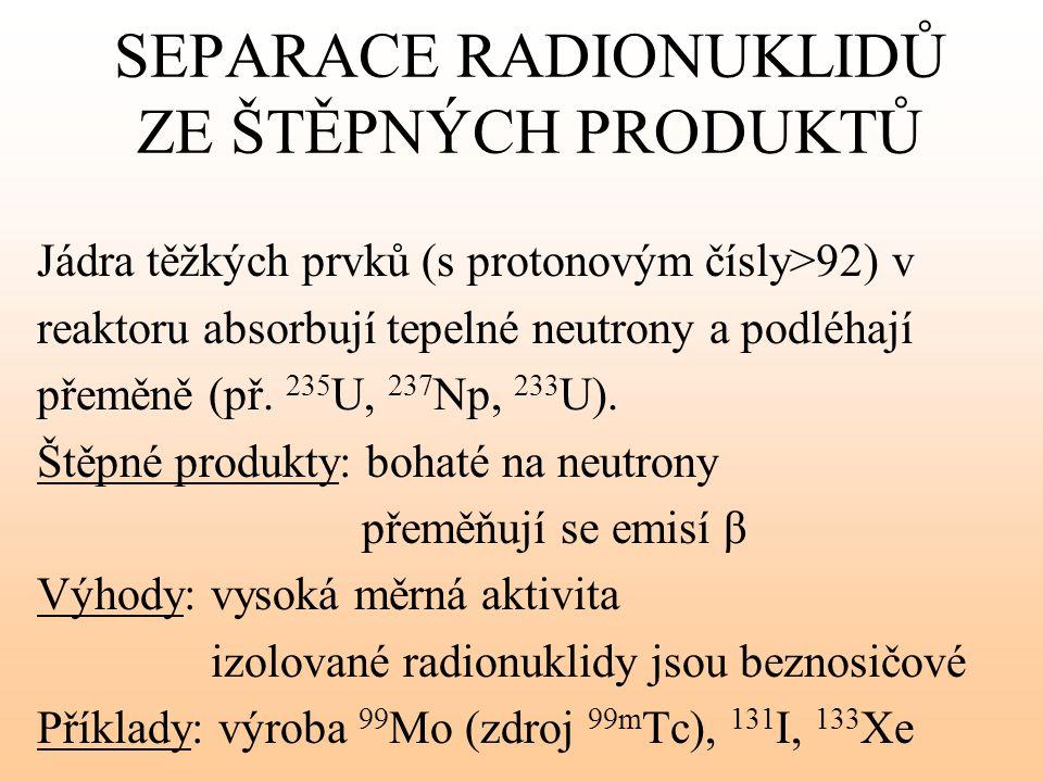 SEPARACE RADIONUKLIDŮ ZE ŠTĚPNÝCH PRODUKTŮ Jádra těžkých prvků (s protonovým čísly>92) v reaktoru absorbují tepelné neutrony a podléhají přeměně (př.