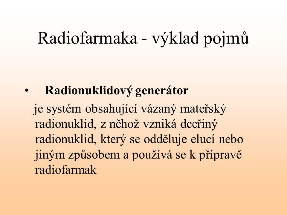Radiofarmaka - výklad pojmů Radionuklidový generátor je systém obsahující vázaný mateřský radionuklid, z něhož vzniká dceřiný radionuklid, který se od
