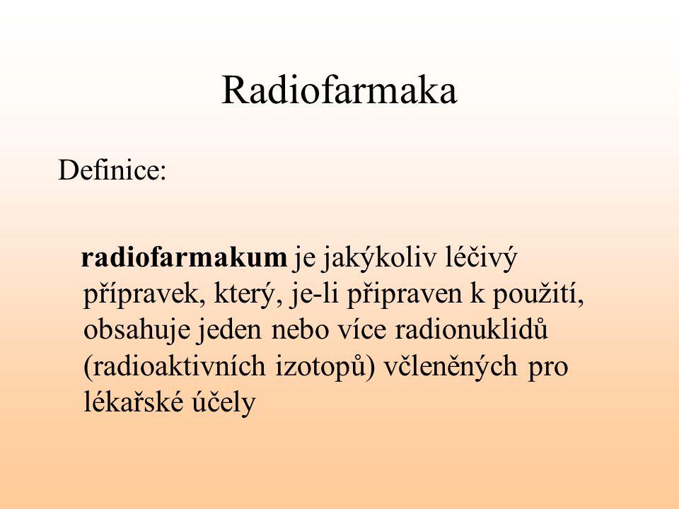 Radiofarmaka Definice: radiofarmakum je jakýkoliv léčivý přípravek, který, je-li připraven k použití, obsahuje jeden nebo více radionuklidů (radioakti