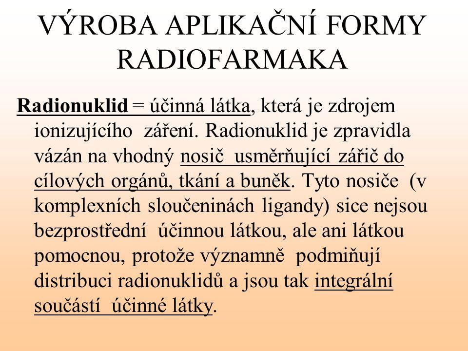 VÝROBA APLIKAČNÍ FORMY RADIOFARMAKA Radionuklid = účinná látka, která je zdrojem ionizujícího záření. Radionuklid je zpravidla vázán na vhodný nosič u
