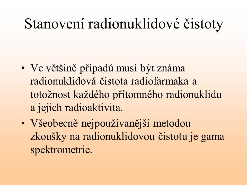 Stanovení radionuklidové čistoty Ve většině případů musí být známa radionuklidová čistota radiofarmaka a totožnost každého přítomného radionuklidu a j