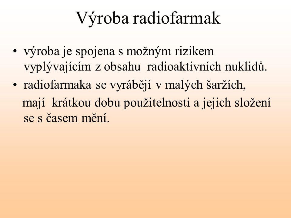 Výroba radiofarmak výroba je spojena s možným rizikem vyplývajícím z obsahu radioaktivních nuklidů. radiofarmaka se vyrábějí v malých šaržích, mají kr
