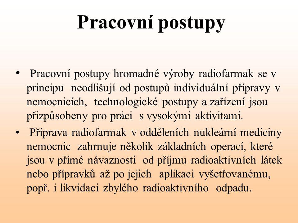 Pracovní postupy Pracovní postupy hromadné výroby radiofarmak se v principu neodlišují od postupů individuální přípravy v nemocnicích, technologické p