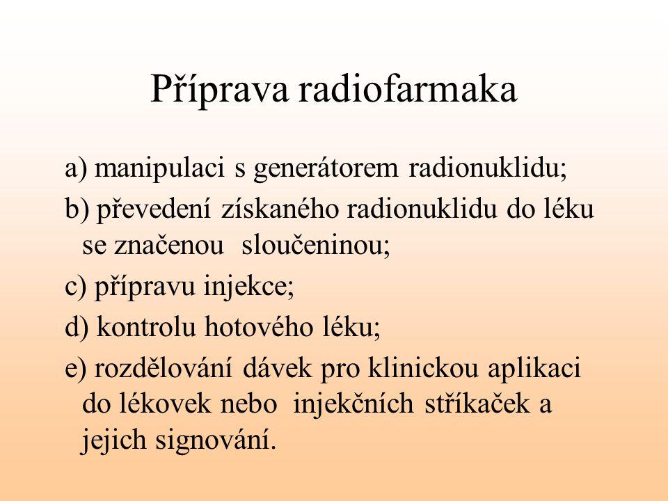 Příprava radiofarmaka a) manipulaci s generátorem radionuklidu; b) převedení získaného radionuklidu do léku se značenou sloučeninou; c) přípravu injek