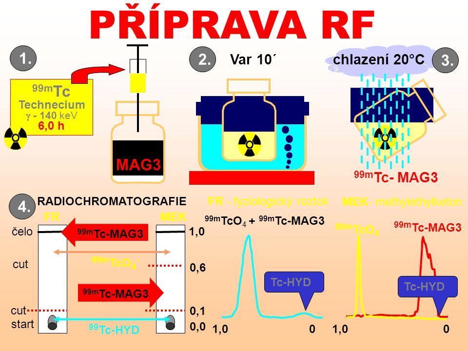 PŘÍPRAVA RF Tc-HYD FR MEK- methylethylketon 99m Tc-MAG3 cut start čelo 0,1 1,0 0,0 99m TcO 4 + 99m Tc-MAG3 99 Tc-HYD 99m TcO 4 - 99m TcO 4 99m Tc-MAG3