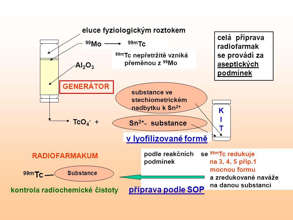 Sn 2+_ substance substance ve stechiometrickém nadbytku k Sn 2+ KITKIT 99 Mo 99m Tc v lyofilizované formě podle reakčních se 99m Tc redukuje podmínek