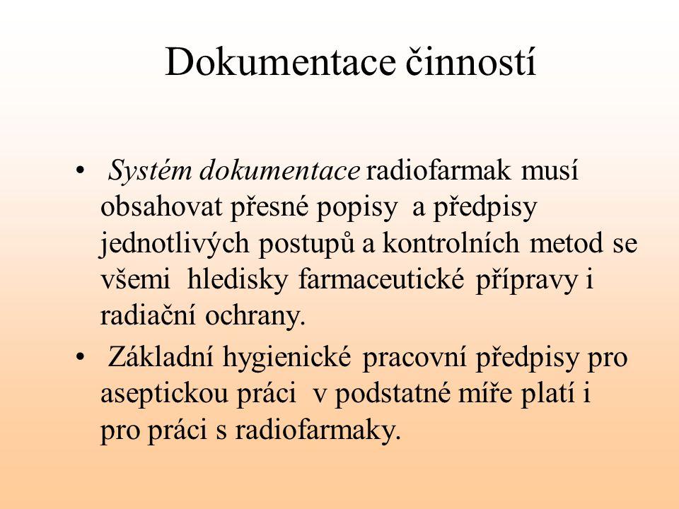 Dokumentace činností Systém dokumentace radiofarmak musí obsahovat přesné popisy a předpisy jednotlivých postupů a kontrolních metod se všemi hledisky