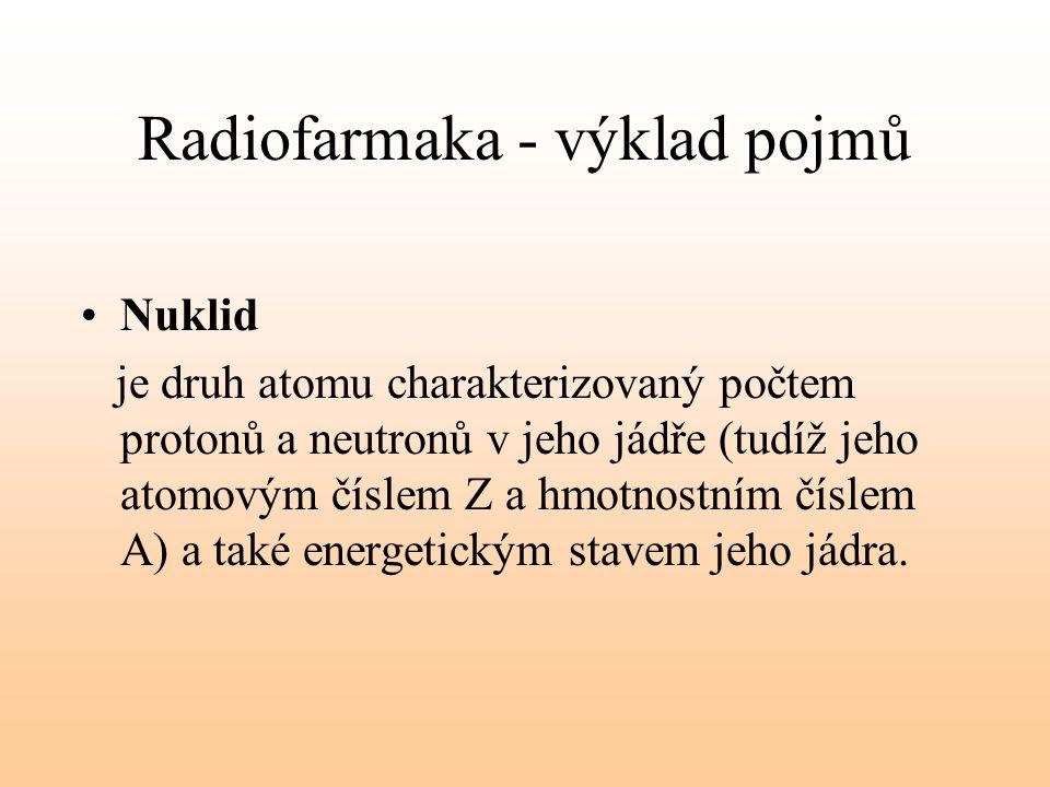 Radiofarmaka - výklad pojmů Nuklid je druh atomu charakterizovaný počtem protonů a neutronů v jeho jádře (tudíž jeho atomovým číslem Z a hmotnostním č