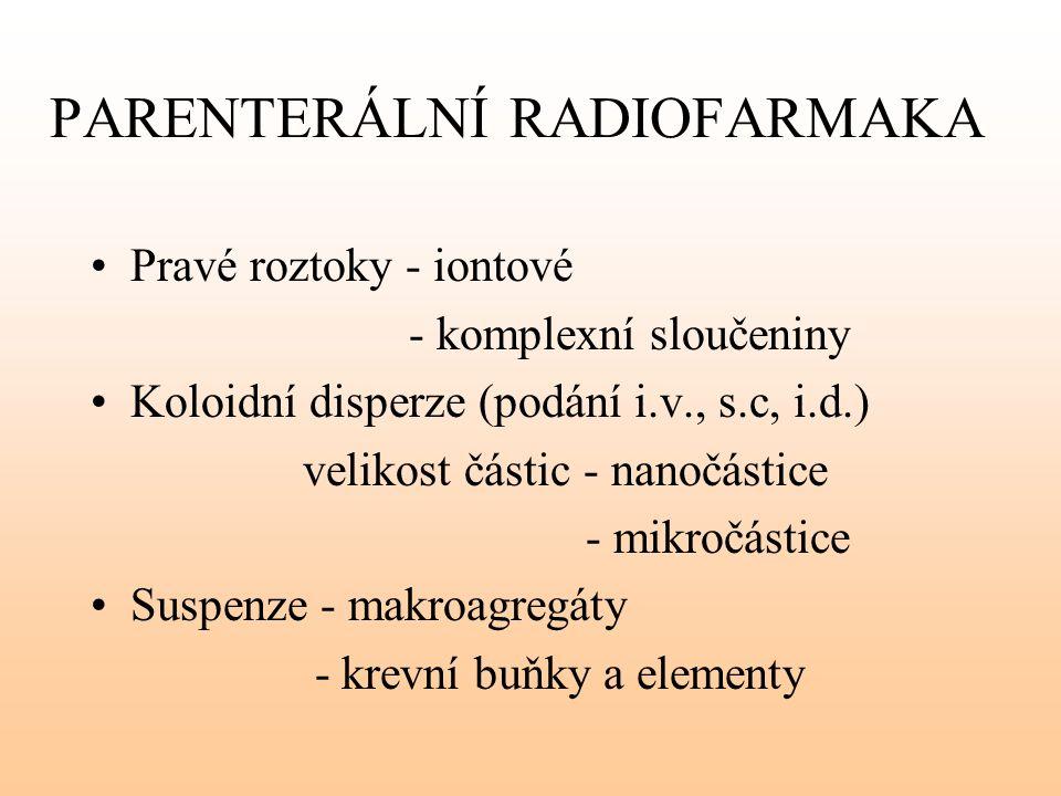 PARENTERÁLNÍ RADIOFARMAKA Pravé roztoky - iontové - komplexní sloučeniny Koloidní disperze (podání i.v., s.c, i.d.) velikost částic - nanočástice - mi
