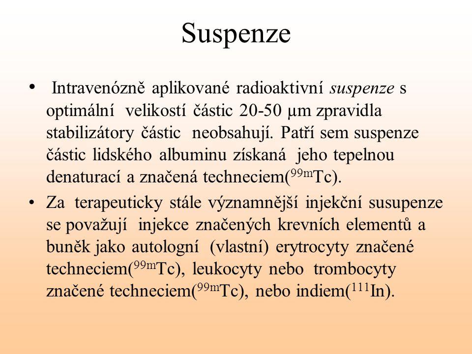 Suspenze Intravenózně aplikované radioaktivní suspenze s optimální velikostí částic 20-50 µm zpravidla stabilizátory částic neobsahují. Patří sem susp