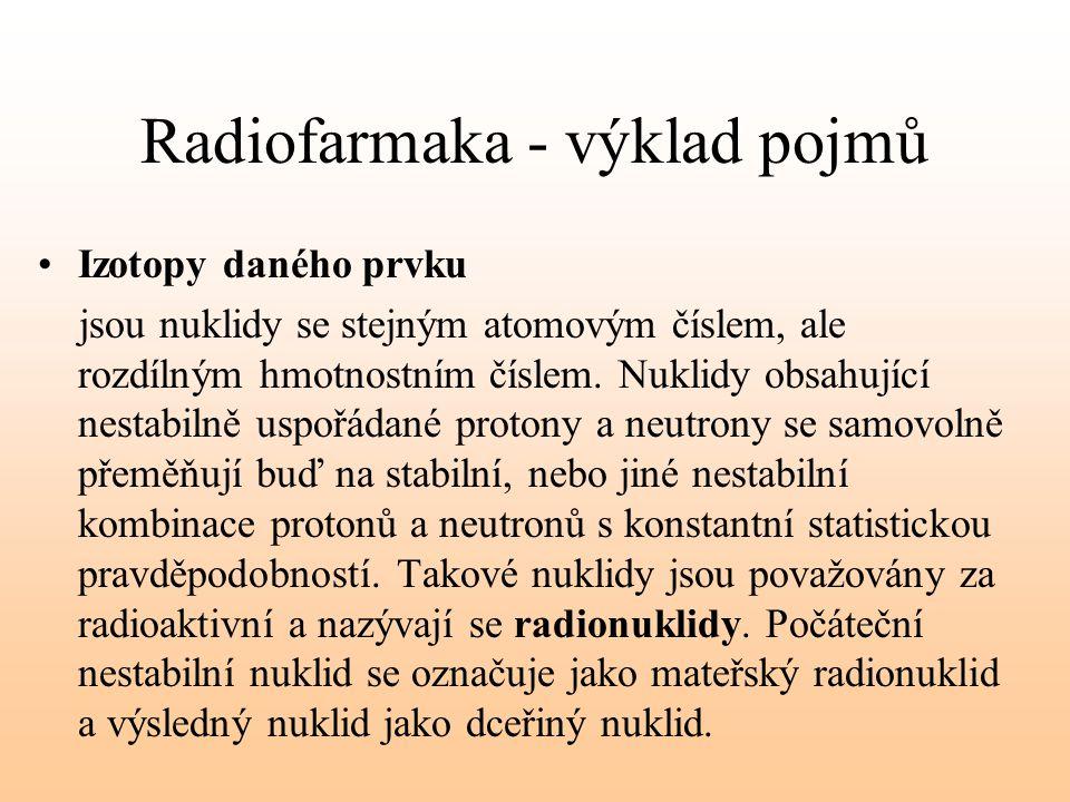 Radiofarmaka - výklad pojmů Izotopy daného prvku jsou nuklidy se stejným atomovým číslem, ale rozdílným hmotnostním číslem. Nuklidy obsahující nestabi