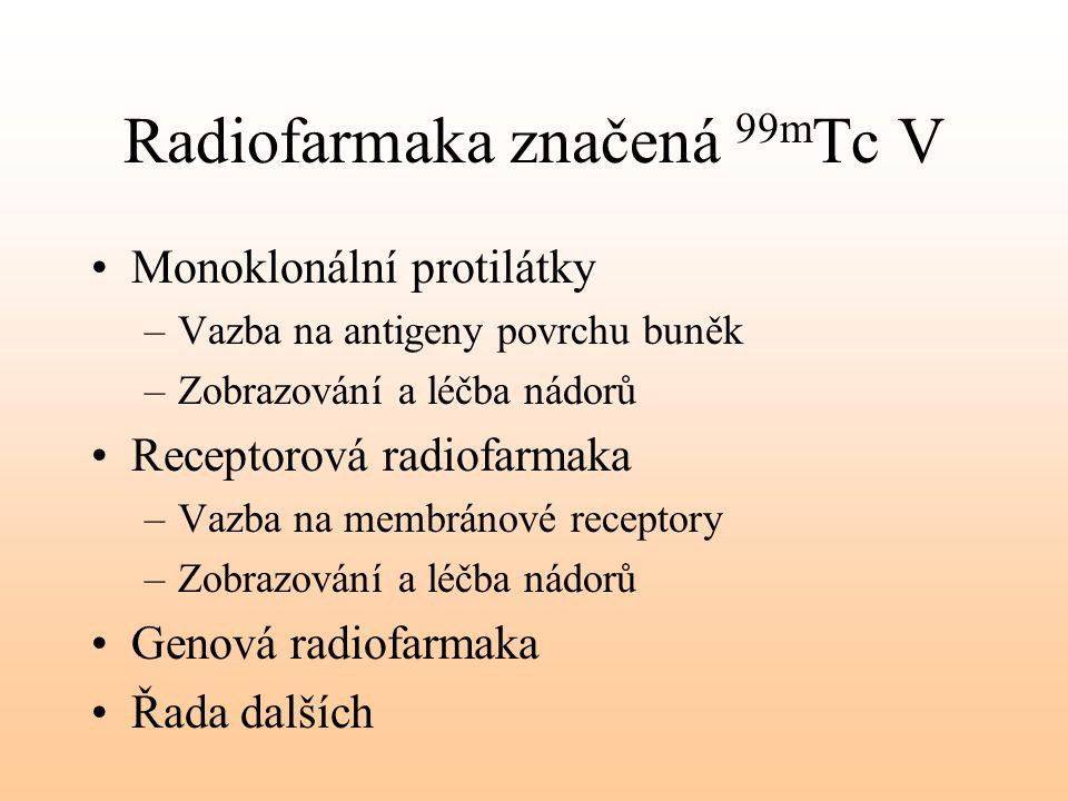 Radiofarmaka značená 99m Tc V Monoklonální protilátky –Vazba na antigeny povrchu buněk –Zobrazování a léčba nádorů Receptorová radiofarmaka –Vazba na