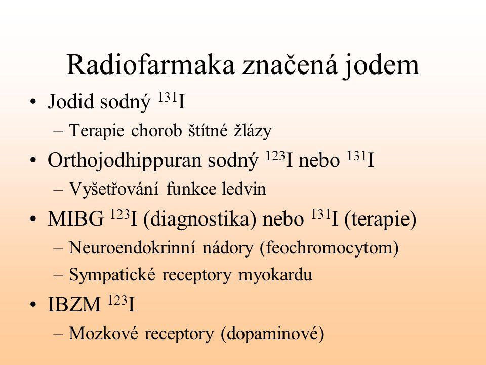 Radiofarmaka značená jodem Jodid sodný 131 I –Terapie chorob štítné žlázy Orthojodhippuran sodný 123 I nebo 131 I –Vyšetřování funkce ledvin MIBG 123