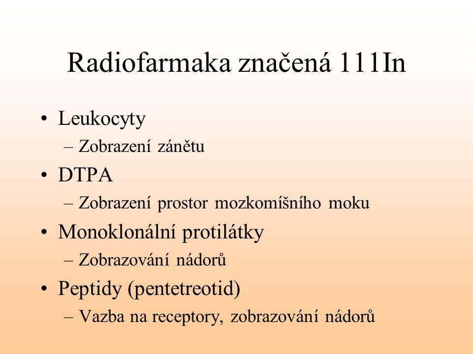 Radiofarmaka značená 111In Leukocyty –Zobrazení zánětu DTPA –Zobrazení prostor mozkomíšního moku Monoklonální protilátky –Zobrazování nádorů Peptidy (