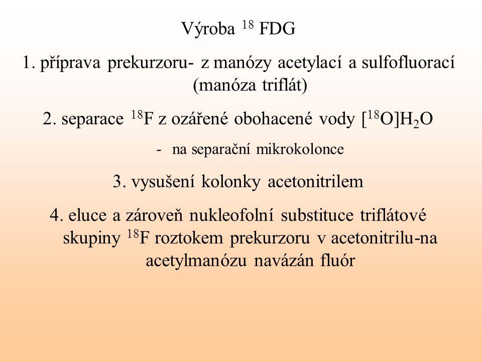 Výroba 18 FDG 1. příprava prekurzoru- z manózy acetylací a sulfofluorací (manóza triflát) 2. separace 18 F z ozářené obohacené vody [ 18 O]H 2 O -na s