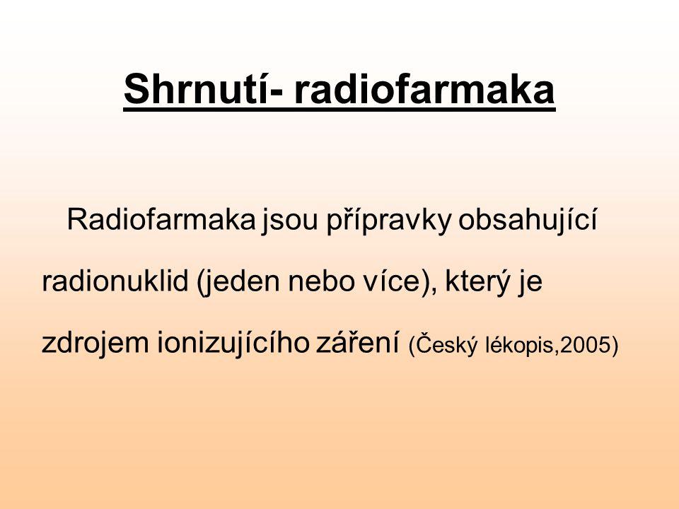 Shrnutí- radiofarmaka Radiofarmaka jsou přípravky obsahující radionuklid (jeden nebo více), který je zdrojem ionizujícího záření (Český lékopis,2005)